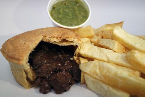 Pie, chips and mushy peas