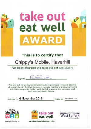 Take Out Eat Well Award for Chippy's Mobile