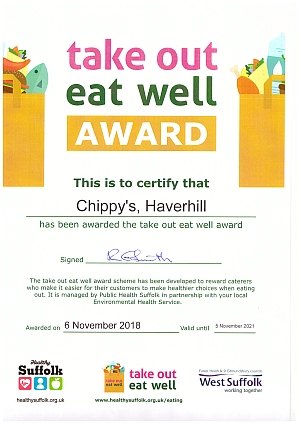 Take Out Eat Well Award for Chippy's Shop